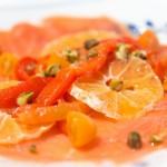 Carpaccio from Salmon with Oranges and Baked Bell Peppers